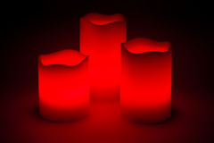 Three red LED candles. In the dark Royalty Free Stock Photo