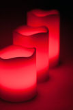 Three red LED candles. In the dark Royalty Free Stock Photography