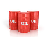 Three red oil drums Stock Photo