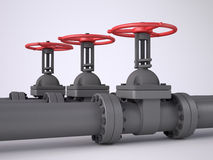 Three red oil valves. On white background Royalty Free Stock Photography