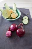 Three red onions Stock Photo