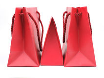 Three red paper bags Stock Photography