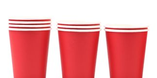 Three red paper cups Stock Photo