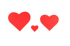 Three red paper hearts, family concept Royalty Free Stock Photos