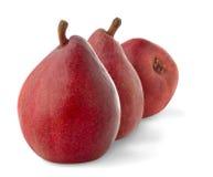 Three red pears. Isolated pears. Three red pears isolated on white background stock photography