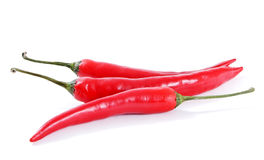 Three red peppers. Stock Images