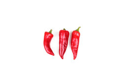 Three Red Peppers on White Stock Photography