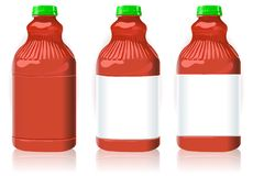 Three Red Plastic Bottles with Generic Labels Royalty Free Stock Photos