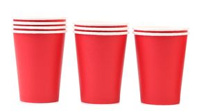 Three red plastic cups. Royalty Free Stock Photo