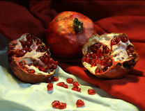 Three Red Pomegranates Royalty Free Stock Image
