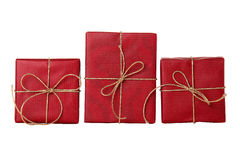 Three red presents Stock Photos