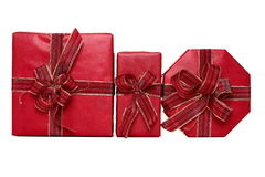 Three red presents Royalty Free Stock Photo