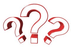 Three of red question marks Stock Photo