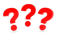 Three red question marks Stock Images