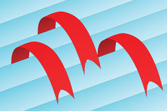 Three red ribbon - bookmark Stock Photos