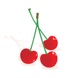 Three red ripe cherries Stock Photography