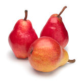 Three red ripe pears on white background. Isolated royalty free stock image