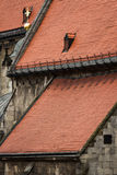 Three red roofs of Catholic Cathedral in Bratislava, Slovakia Stock Photography