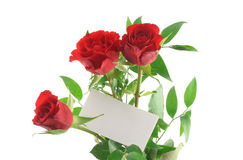 Three red roses with blank love note royalty free stock photo