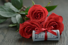 Three red roses and bunch of dollars Stock Photography