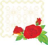Three red roses on the decorative background Stock Photo