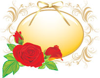 Three red roses and the decorative frame with bow Stock Photography