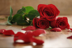 Three red roses and petals on old wood table Stock Photo