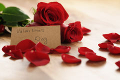 Three red roses with petals on wood table and paper card for valentines day Stock Images