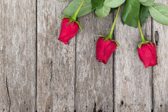Three red roses on wooden background Stock Image
