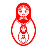 Three red Russian dolls, cartoon on a white background. Royalty Free Stock Images