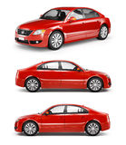 Three Red Sedans in a Row Stock Photo