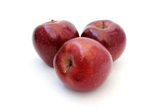 Three red shiny apple Stock Photo