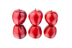 Red apples different sides view on white background isolated close up macro royalty free stock photography