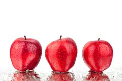 Red apples different sides view on white background isolated close up macro stock images
