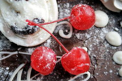 Three red sweet cherry Royalty Free Stock Images