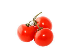 Three red tomatoes. On a branch isolated on white background Royalty Free Stock Photos
