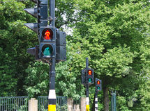 Three red traffic lights Royalty Free Stock Images