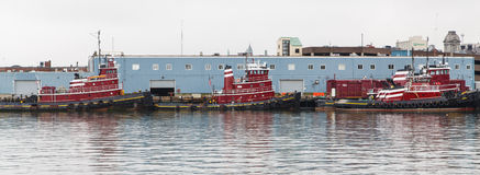 Three Red Tugboats Paroramic Royalty Free Stock Photos