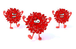 Three red virus with arms, legs and face Royalty Free Stock Images