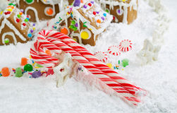 Three Red and White Candy Canes in Front of Gingerbread Houses w Stock Photography