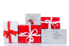 Three red and white gift boxes Stock Photo