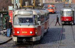 Three red and white vintage tram Stock Image