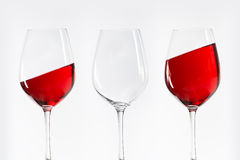 Three red white wine glasses Stock Image