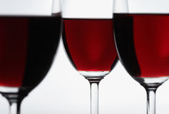 Three red wine glasses Royalty Free Stock Images