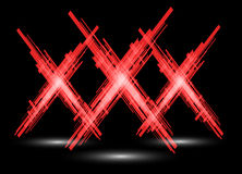 Three red X on a black background. Raster Stock Photos