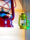 Three Red, Yellow, and Green Gas Lantern Hanging on Ceiling royalty free stock images