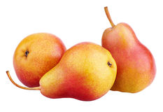 Three red-yellow pear fruits isolated on white Stock Photography