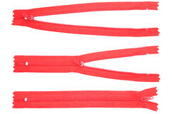 Three red zipper. On white background Royalty Free Stock Photo