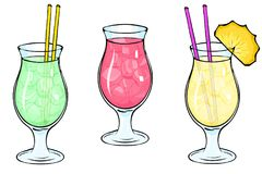 Three refreshing cocktails with ice, summer drinks. vector illustration