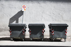 Three refuse bins Stock Photography
